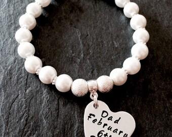 Beaded hand stamped charm memorial bracelet, personalised charm bracelet, memorial jewellery, memorial charm, customised bracelet, beaded