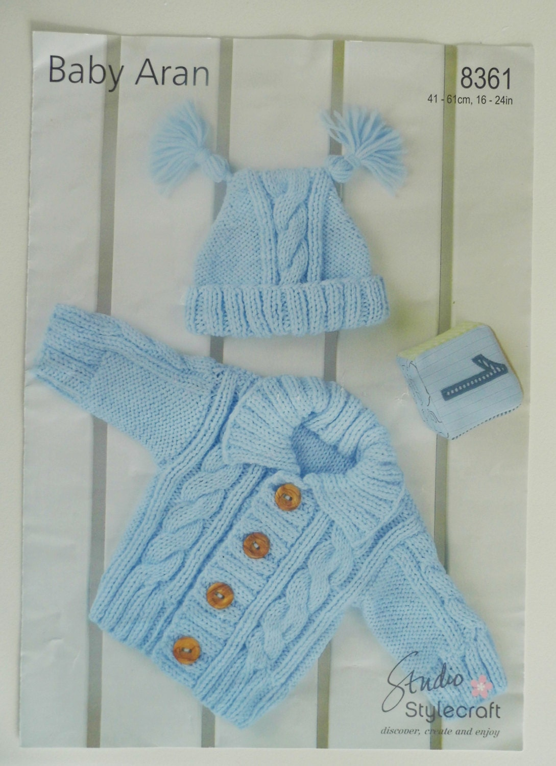 Free Knitting Pattern For Childs Aran Hat : Baby Aran Cardigan and Hat Knitting Pattern.0 4 years.