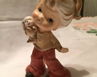 Hip Bell-bottomed Girl holding puppy figurine  Norleans Japan