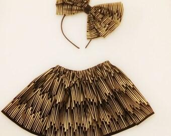 Black & Gold baby girl skirt
