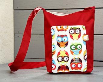 Red Tote, Red Bag, Red Crossbody Bag, Red Handbag, Red Crossbody Purse, Red Owl Bag, Red Owl Tote, Long Strap Bag, Red Messenger Bag