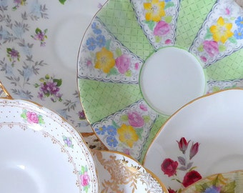Set of Six Vintage Mismatch Bone China Tea Saucers, Roses, Florals and Gold, Mismatched Saucers, Mismatched China