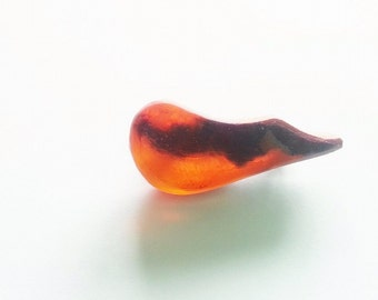 Wood and resin brooch