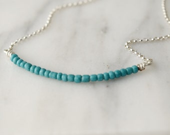 the Olivia necklace in turquoise  |  beaded necklace