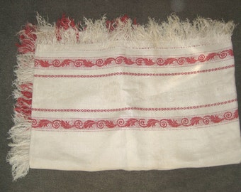 Vintage French turkey red trimmed damask off-white linen Tablecloth
