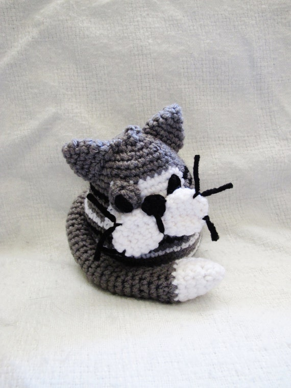 Amigurumi Tabby Cat : Crochet Amigurumi Grey Tabby Cat: Andy the Cat black grey