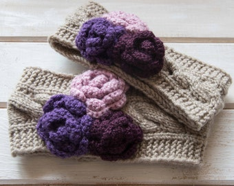 Mommy and me headbands Knit wool ear warmer Knit mother and daughter headband Matching headbands Crochet flower ear warmer Flower headbands
