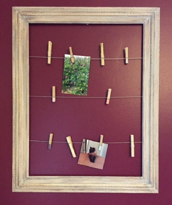 Hanging Clothespin Picture Frame Photo Display