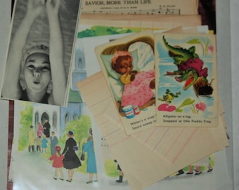 Paper Ephemera Pack - 50 + pieces of vintage papers, music, children book pages, ledger pages, animal cards,  vintage journal not included
