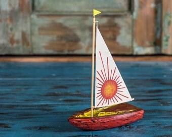 Red Sun Wooden Boat Sailboat Bark Interior Decoration Ship