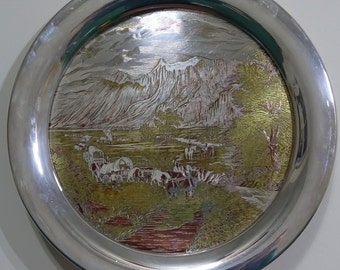 Currier and Ives 1971 Lithograph Silver Plated