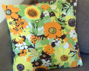 70s retro pillow cushion cover - orange green yellow flower floral fabric - VW campervan caravan