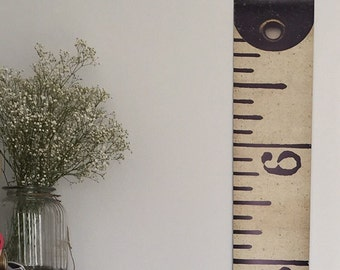 Vintage Inspired Tape Measure Hanging Height Chart, Ruler Growth Chart, Imperial Height Chart, Ruler, Feet