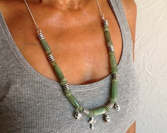 Necklace chain beaded necklace green glass stone necklace