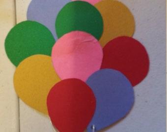 Cute balloon handmade birthday invitations! Set of 10.