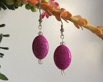 Drop Earrings-Pink-Beaded