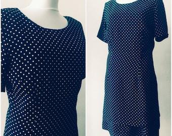 Polka dot dress / Vintage dress / Dark blue dress / Cotton dress / Size M