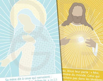 10 religious images A7 'Our father - Jevous welcomes Marie' (5 x 2 different models)