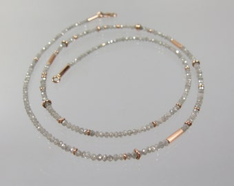 Grey diamond chain Goldsmith crafted 585 / - Rosé Gold Diamond communications