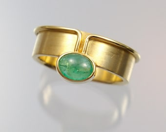 Ring gold 585 / - Gold Green Emerald Gr. 56 unique forged master work
