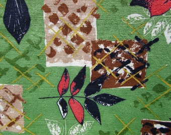 """BTY Vintage 1950s Barkcloth with geometric botanical patttern / 34"""" wide mid century fabric/ green, red / drapery weight / 8 yards avail"""