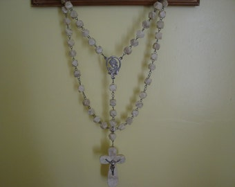 Beautiful Antique European Rosary Alabaster and Metal Madonna and Jesus