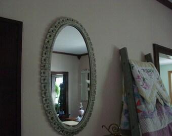 Vintage Ornate Oval Mirror
