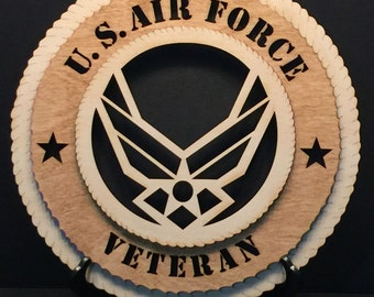"United States Air Force Veteran (New Logo)- 3D Round Wall Plaque made of solid birch, 11.5"" round, wall hanging or desktop display"