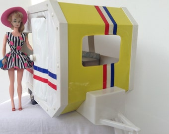 Vintage Toy caravan for Barbie, Blythe, Midcentury, scale 1:6, Design, Plastic