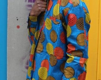 African Shirt Longline - Allagi Shirt - Colourful Shirt - Festival Shirt - Wax Shirt - African Unisex Longline Shirt - African Shirt