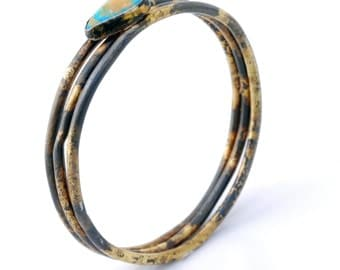 Echo Bangle - iron and gold bangle, industrial bangle, one of a kind