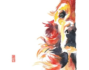 Golden Retriever Watercolor Giclee Fine Art Print / Dog painting / Animal painting / Pet portrait
