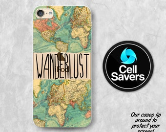 Wanderlust Clear iPod 5 Case iPod 6 Case iPod 5th Generation iPod 6th Generation Rubber Case Gen Clear Case World Map Wanderlust Quote Cute