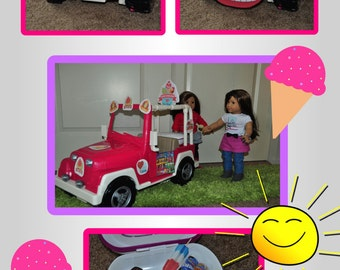 American Girl/Our Generation Ice-cream Truck Jeep 18 Inch Doll