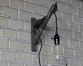 Wall wooden lamp, minimalist wall sconce, edison lamp, pendant lamp, Wood Handmade wall sconce Light