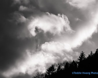Dramatic Clouds, Black and White Photography, Nature Photography
