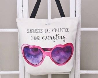 Handmade digital printed beach bag - watercolour pattern print - stylish beach bag SUNGLASSES