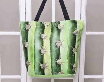 Handmade digital printed beach bag - watercolour pattern print - stylish beach bag CACTUS