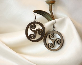 Wooden  earrings of modern style. Free shipping.