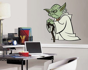 kcik1276 Full Color Wall decal Star Star Wars unhappy Jedi master Yoda living children