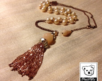 Crystal tassel necklace powder colour with bright/pearls/agate/fashion//handmade