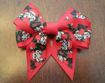 "Red 5"" Skull and Rose Hair Bow"