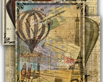 5 Printable 8x10 inch Full Size Junk Journal Kit Pages Collage Sheets Journal Scrapbooking Steampunk Victorian Journals Download