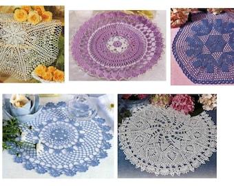 5 pcs crochet doily pattern-only diagram-in pdf-12