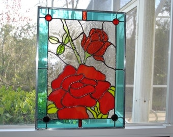 brilliant colored stained glass rose window
