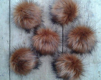 Spare Bronze Bear Faux Fur pom poms for Hat with press stud. Extra long Fur. Detachable pompom