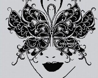 Blackwork Butterfly Mask Cross stitch chart