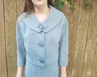 60s wool suit by garfinkle and co blue grey color small medium possible bakelite buttons