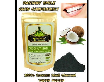 Premium Activated Coconut Charcoal Powder for TEETH WHITENING, TOOTHPASTE (100 g) - Free Shipping !