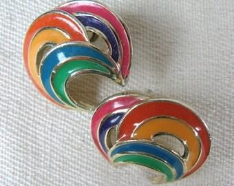 Vintage 1980s Rainbow Earrings 80s Colorful Enamel Stud Earrings